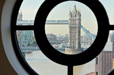 View through a window at Tower Bridge London