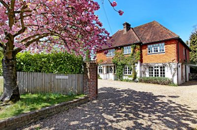 Lovely spring blossoms outside of a detached english home