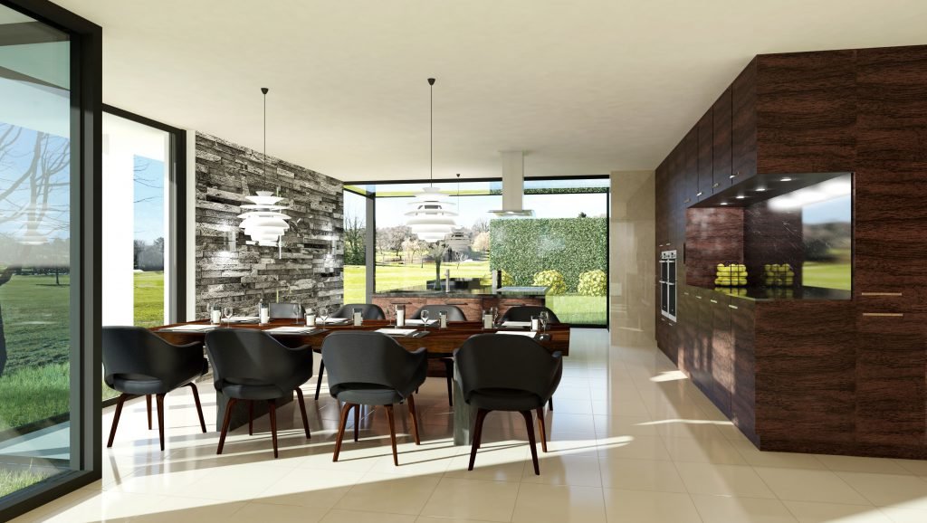 Cgi of a contemporary house - dining room