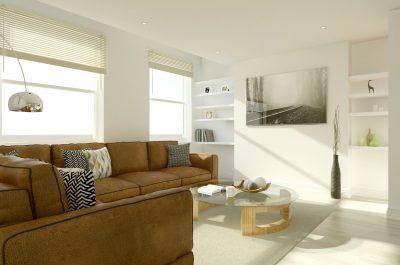 CGI of a contemporary living room